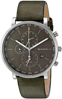 NWT Skagen World Time SKW6298 Hagen Green Leather Strap Chronograph Men's Watch