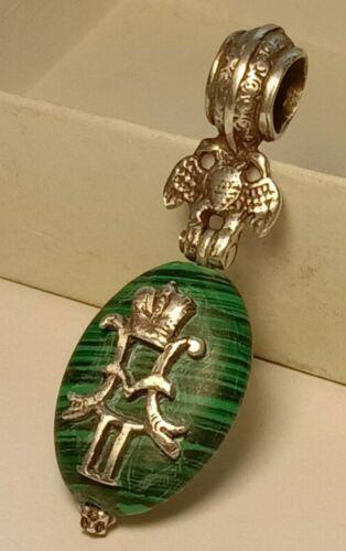Antique Rare Pendant Malachite Stone Silver 84 Nikolay II Imperial Russia