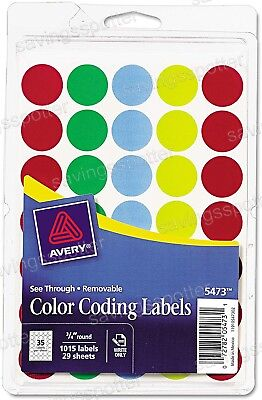 Avery Removable See-through Color Coding Labels 34 Round Dots Assort Write 1015