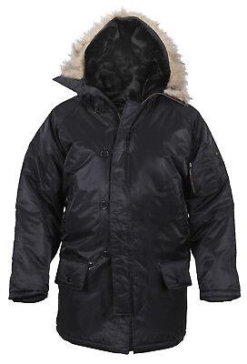 Black N-3b Snorkel Parka (N3-B Snorkel Military Parka Winter Coat Black Nylon Water Repellent Rothco 9390 )