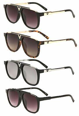 KHAN CLASSIC RETRO AVIATORS FLAT TOP BROW BAR FASHION STYLISH METAL SUNGLASSES  (Flat Brow Sunglasses)
