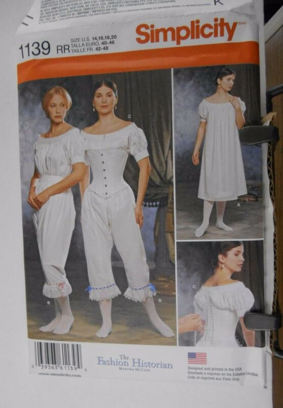 Simplicity 1139 sewing pattern RR Size 14 16 18 20 Civil War LARP SCA Corset