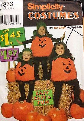 Pumpkin Halloween Costume Pattern (Simplicity Sewing Pattern Costume 7873 Pumpkin Halloween Kids S M)