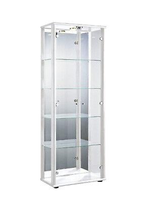 Schloss und LED in Alu│176x67x33 cm│Schrank Sammler Glasvitrine mit Spiegel