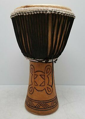 Hand Carved Rope Tuned Wooden Djembe Hand Drum 23 x12  - $9.99