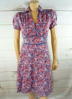 Vintage LIBERTY Art Fabrics Floral Print Dress Sz 8 Waist tie Cap Peasant (Liberty Dress Fabrics)