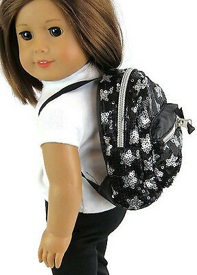 Black & Silver Sequined Backpack made for 18