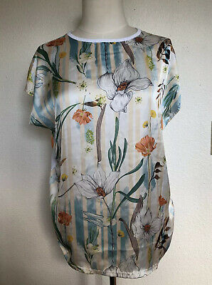 Zara White Silky Floral Front Combined Print graphic tee T-Shirt Sz L