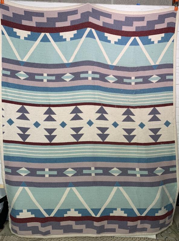 Vintage Crown Crafts Woven Pastel Tribal Southwestern Geometric Camp Blanket