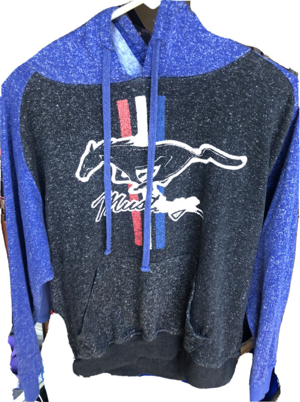 FORD MUSTANG Mens Pullover Hoodie Long Sleeve Gray Blue Muscle Car