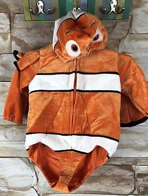 Disney Nemo XXS Toddler Costume Orange Black White Clown Fish padded zip up