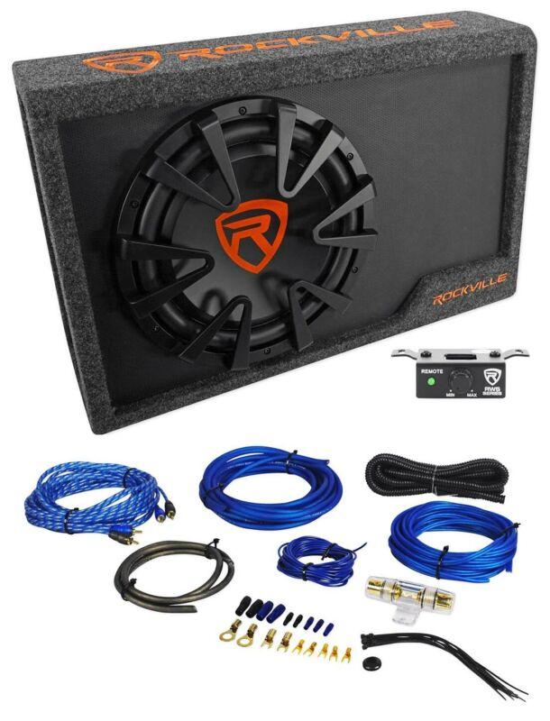 "Rockville RWS12CA Slim 1200 Watt 12"" Powered Car Subwoofer Enclosure + Wire Kit"