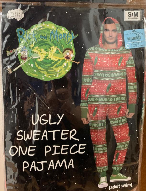 Adult Swim Rick & Morty Ugly Sweater One Piece Pajama S/M  Xmas NWT