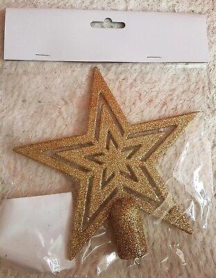 Weihnachtsbaumspitze Stern Kunststoff Gold