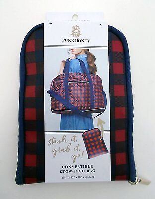 PURE HONEY Convertible STOW-N-GO Bag Duffle Tote Backpack Plaid Red Blue -