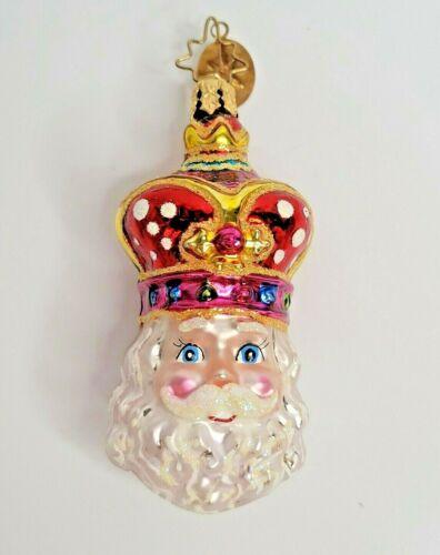 Christopher Radko REGAL ST NICK Glass Ornament Santa Christmas Crown Retired