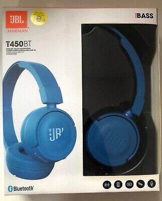 JBL T450BT On-Ear Lightweight Foldable Bluetooth Headphones - Blue