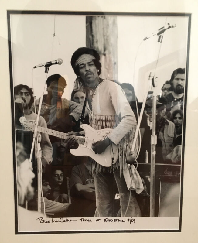 JIMI HENDRIX ORIGINAL PHOTOGRAPH TAKEN AT WOODSTOCK & SIGNED by BRUCE MACCALLUM