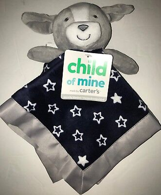 NEW Carters Child of Mine Gray Navy Blue Puppy Dog Security Blanket White Stars