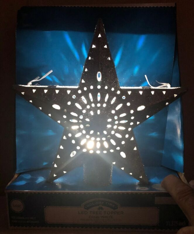 """Christmas Tree Topper Star Lighted Projection LED 11.375"""" Holiday Time Silver"""