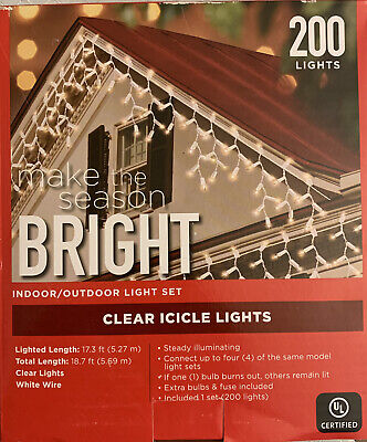 Christmas lights 200 Clear Icicle Lights indoor/outdoor 17-18 ft.