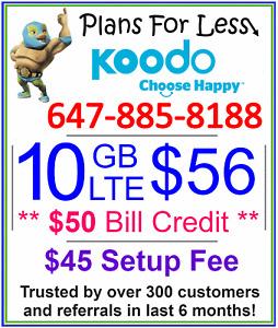 Koodo $56 10gb LTE data plan + $50 Bonus (Limited Time Offer!)