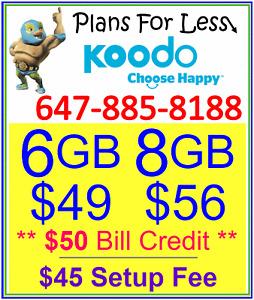 Koodo 1GB 6GB 8GB LTE Data UNLIMITED talk text plan + $50 BONUS