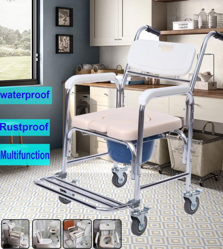 Aluminum Mobile Shower Commode Chair Bedside Bathroom Toilet