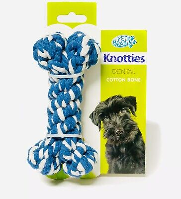 Pet brands Knotties Dental Cotton Bone Extra Large Dog Toy Blue New Carded