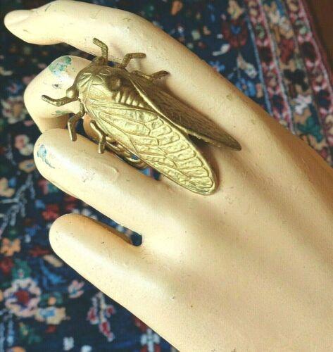 Vintage Ring Tall Egyptian Cicada Centerpiece Adjustable Brass Filigree Base