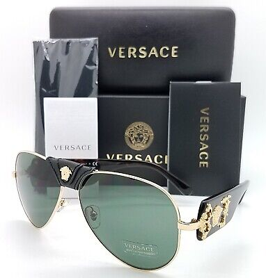 NEW Versace sunglasses VE2150Q 100271 62mm Gold Havana Green AUTHENTIC Aviator