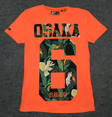 SUPERDRY MEN'S OSAKA SERIES #6 S/S TEE Slim Fit Optic Coral sz M t-shirt