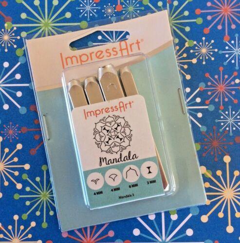 ImpressArt Mandala Metal Punch Stamps 4 Piece Set Sand Clock Wishbone Series 3