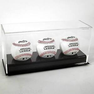 New Saf-T-Gard Deluxe ACRYLIC TRIPLE 3 BASEBALLS UV DISPLAY CASE AD24