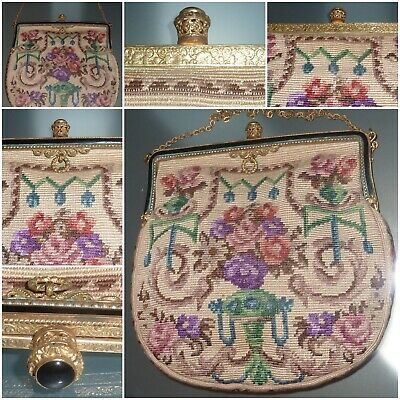 1920s Handbags, Purses, and Shopping Bag Styles VINTAGE TAPESTRY BAG CIRCA 1920'S - GOOD CONDITION $109.87 AT vintagedancer.com