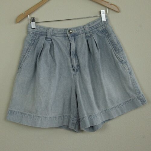 """Vintage 90s Lizwear High Rise Pleated Mom Jean Shorts Chambray Lightweight 28"""" W"""