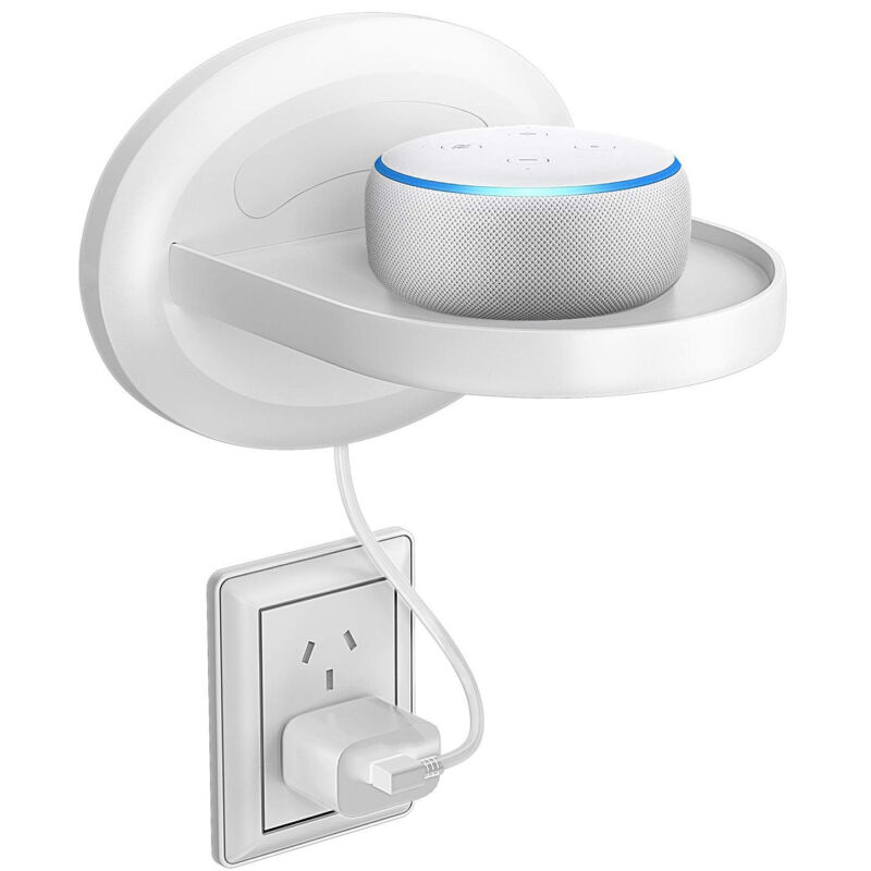 Wall Mount for Google Home & Smart Speaker with Cord Arrangement (White)