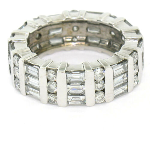 18k White Gold 2.57ctw Channel Set Baguette & Round Diamond Eternity Band Ring
