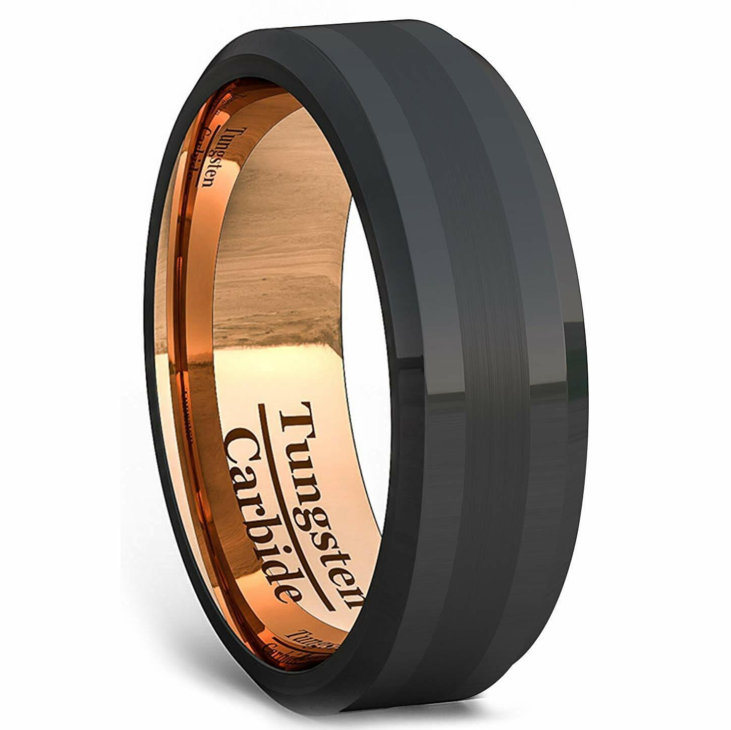 It is an image of Details zu Black Tungsten Ring 30k Rose Gold Plated Wedding Band Jewelry Polished Brushed
