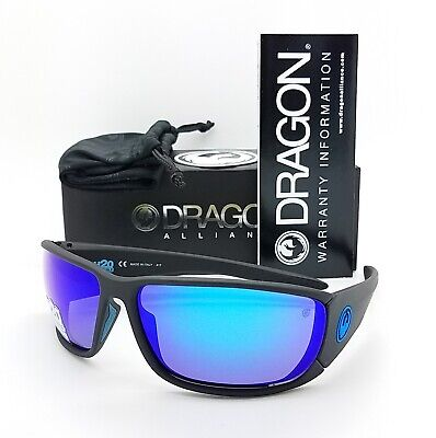 NEW DRAGON Tow In H20 sunglasses Matte Black Polarized Blue 007 Mirror (Dragon H20 Sunglasses)