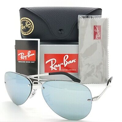 NEW Rayban Aviator sunglasses RB3449 003/30 59 Silver Light Blue Mirror (Blue Mirrored Aviator Sunglasses)