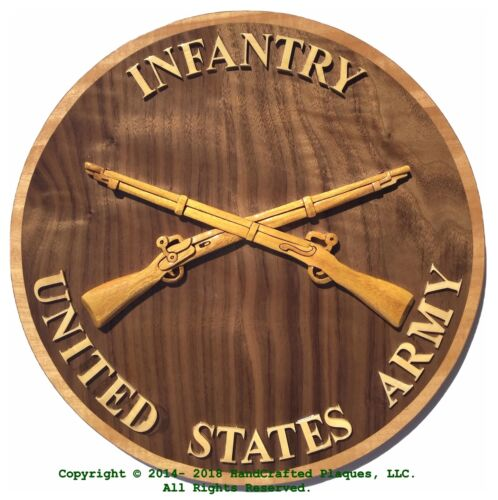 ARMY INFANTRY EMBLEM - ARMY PLAQUE - Handcrafted Military Wood Art Plaque