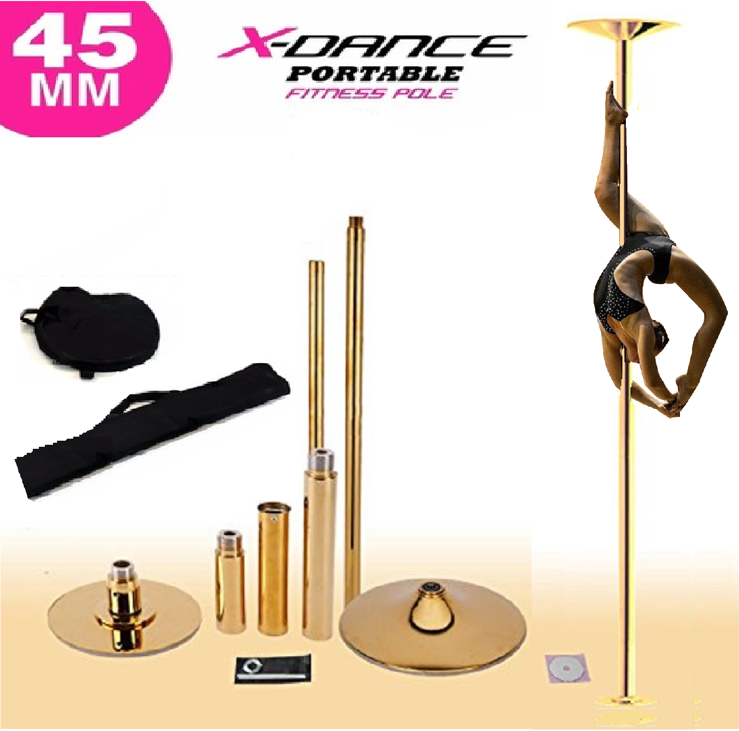 9' FT 45mm GOLD X-Dance Pole Professional Spinning Exotic Po