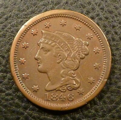 1846 Braided Hair Large Cent =Free Shipping= AZ4COINS F808