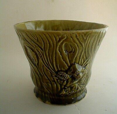 "Vintage Brush USA Planter Vase 7"" Green Log with Mushrooms and Web B-220"