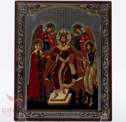 "Wooden Icon of Christ Pantocrator Икона Спаситель с предстоящими 5.1"" x 6.2"""