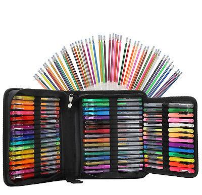 96 Color Artist Gel Pen Set 24 Glitter Gel Pens 12 Metallic 12 Neon & 48 Refills