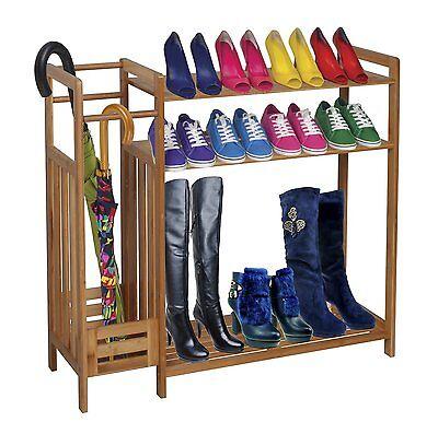 3-Tier Natural Bamboo Wooden Shoe Rack Storage Organizer & Umbrella Holder-SR12