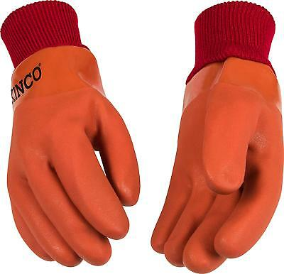 Kinco 8170 Mens Lined Pvc Work Gloves Thermal Sandy Finish Orange Large New Warm