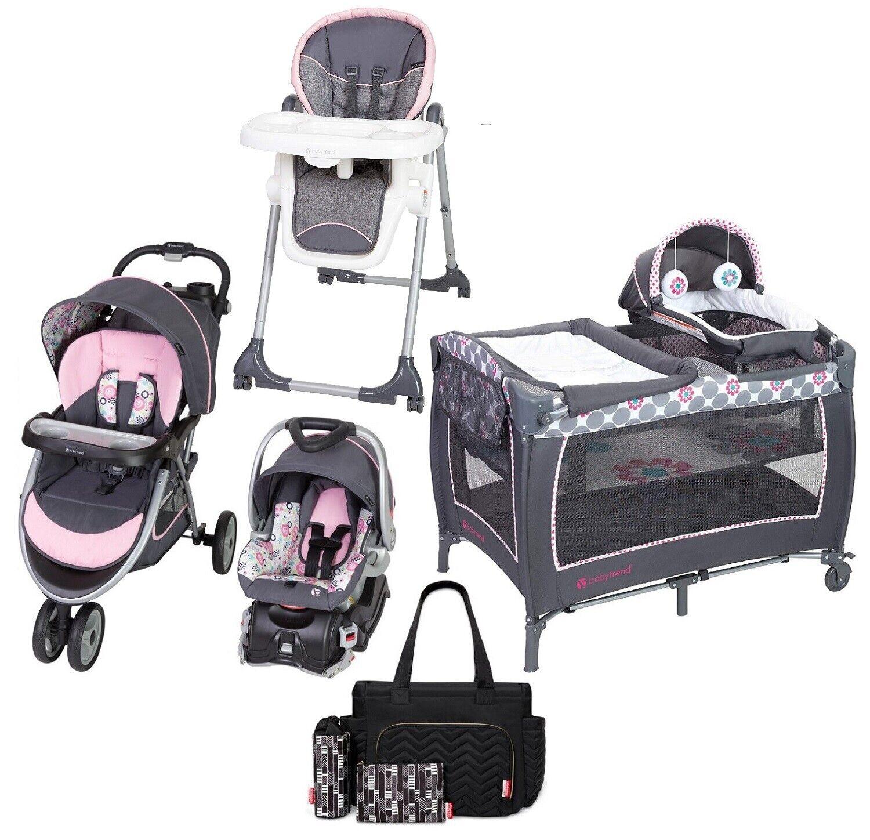 Baby Girl Travel System Combo Playard High Chair Diaper Bag
